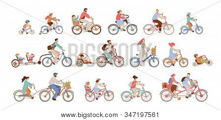 Set Of Man, Women And Children Riding Bicycles Of Different Types - City, Bmx, Hybrid, Chopper, Crui