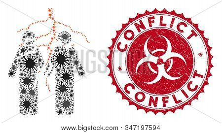 Coronavirus Mosaic Firend Conflict Icon And Rounded Rubber Stamp Seal With Conflict Text. Mosaic Vec