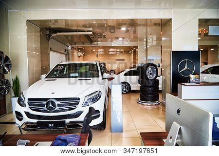 Kirov, Russia - May 07, 2019: Cars In Showroom Of Dealership Mercedes In Kirov
