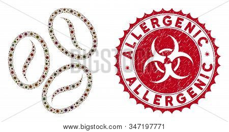 Coronavirus Collage Cacao Beans Icon And Round Grunge Stamp Seal With Allergenic Phrase. Mosaic Vect