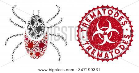Coronavirus Collage Mite Tick Icon And Rounded Grunge Stamp Watermark With Trematodes Text. Mosaic V