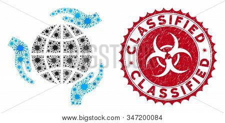 Coronavirus Mosaic Global Protection Icon And Round Distressed Stamp Watermark With Classified Text.