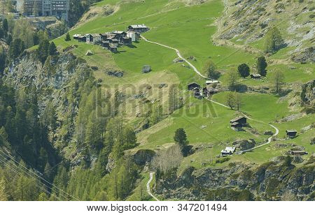 Hiking Path From Furi To Zermatt. Idyllic Landscape Of Swiss