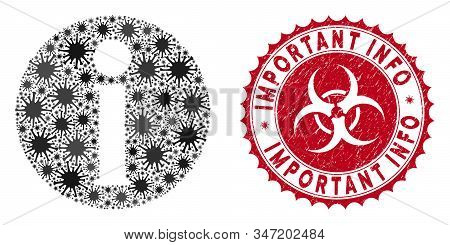 Coronavirus Collage Info Icon And Rounded Grunge Stamp Seal With Important Info Phrase. Mosaic Vecto