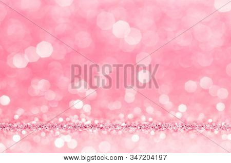 Pink Rose, Pink Bokeh,circle Abstract Light Background,pink Rose Shining Lights, Sparkling Glitterin