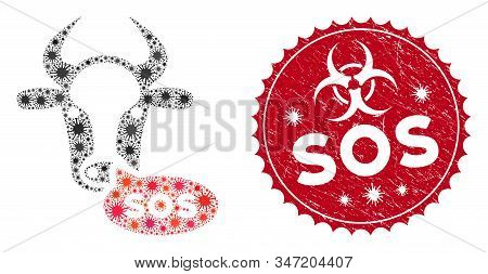 Coronavirus Mosaic Cow Sos Message Icon And Round Rubber Stamp Watermark With Sos Text. Mosaic Vecto