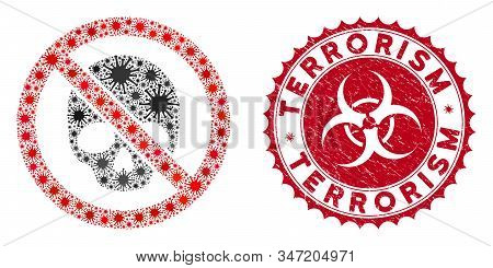 Coronavirus Mosaic No Dead Skull Icon And Rounded Corroded Stamp Seal With Terrorism Phrase. Mosaic