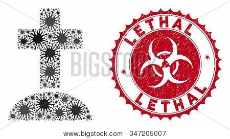 Coronavirus Mosaic Cemetery Icon And Rounded Rubber Stamp Seal With Lethal Text. Mosaic Vector Is Cr