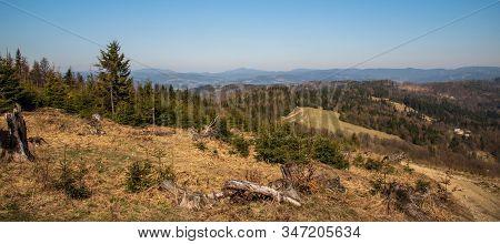 Turzovska Vrchovina And Moravskoslezske Beskydy Mountains Panorama From Jakubovsky Vrch Hill In Javo