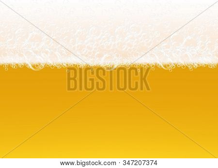Beer Foam. Transparent Macro View Bubbles On Yellow Background Liquid Alcoholic Drink Realistic Vect