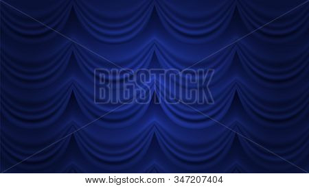 Blue Curtain. Closed Curtain Vector Background. Blue Drapery For Theater Circus Hall Stage. Theater