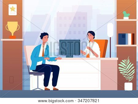 Businessman Interview. Male Character In Boss Cabinet Recruitment Person Vector People. Interview Em