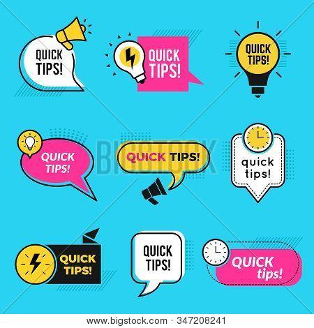 Quick Tips. Graphic Outline Shapes Tricks For Remind Text Notes Or Badges Vector Set. Illustration Q
