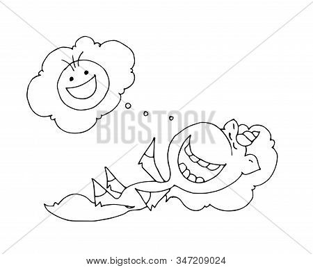 Coloring Book For Kids - Unicorn Laughing Isolated On White Background. Black And White Cute Cartoon