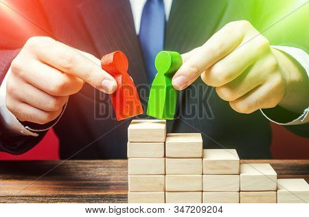 Businessman decides to choose which candidates is best for a leadership position. Head Offset. Change of power. HR management. Staff update. Business optimization, replacement employees with new loyal poster