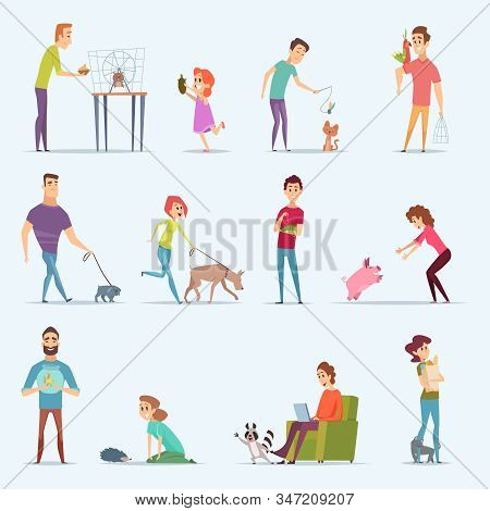 Animal Owners. Dog Kitten Aquarium Fishes People With Lovely Domestic Animals Vector Cartoon Charact