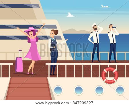 Captain On The Sea Ship. Sailor Cruise Team Boat Officer And Stuart Travel Vector Concept Background