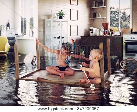 kids pday on the table while flooding in the kitchen. Photo and media photocombination