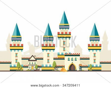 Castle With Towers. Horizontal Brick Wall From Castle With Big Wooden Door Vector Flat Pictures. Tow