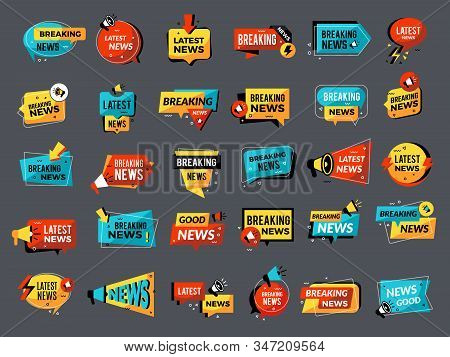 News Announcements Badges. Price Down Sales Shop Discount Megaphone Symbols Vector Promo Set. News M