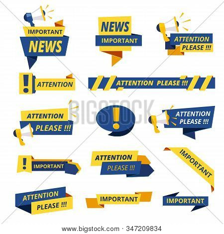 Important Badges. Attention Notice Announcement Stickers Vector Collection Stylized Promotional Grap