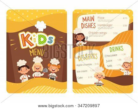 Kids Menu. Childrens Cooking Food Little Chef Restaurant Eating Menu For Little Happy Peoples Vector