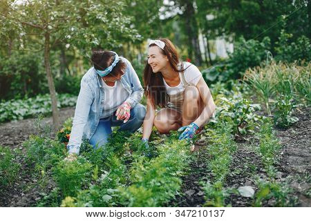 Beautiful Women Works In A Garden Near The House