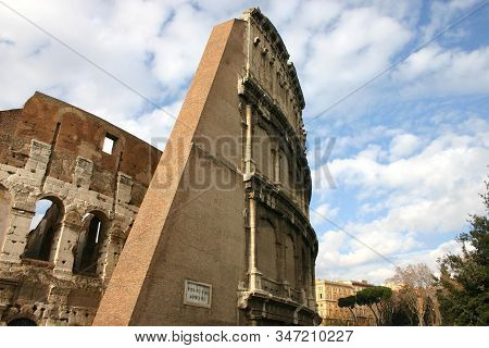 Detail Of Colosseum In Rome, Italy , Also Known As The Flavian Amphitheatre