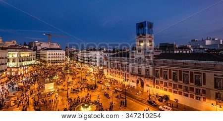 Madrid, Spain - September 16, 2017: Scenic View Of Puerta Del Sol In Madrid With A Crowd Of People A