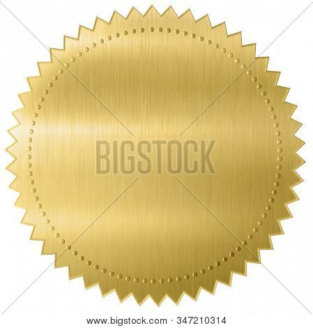 Gold diploma or certificate metal foil seal isolated with clipping path included