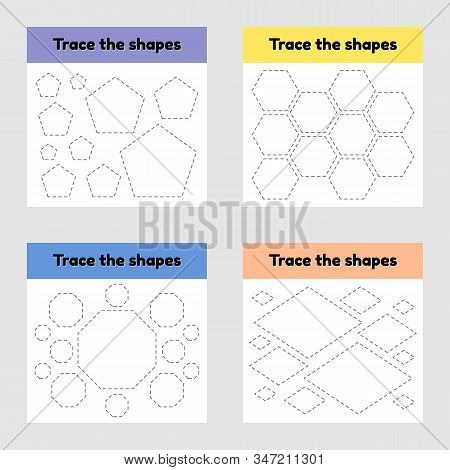 Educational Tracing Worksheet For Kids Kindergarten, Preschool And School Age. Trace The Geometric S