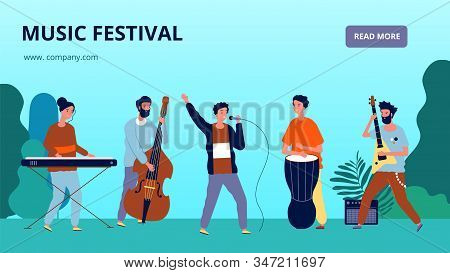 Music Festival Banner. Musicians And Instruments, Orchestra. Sound Fest Vector Landing Page. Music F