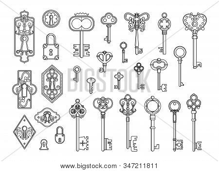 Vintage Locks And Keys. Sketch Keyhole, Victorian Style Padlock. Medieval Or Antique Door Hole, Old
