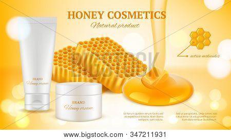 Honey Cosmetics Banner. Realistic Cream Tube And Honeycombs. Natural Skin Care Vector Advertising Ba