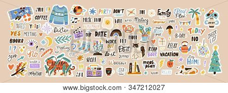 Set Of Weekly Or Daily Planner And Diaries Vector Flat Illustration. Cute Sticker Template Decorated