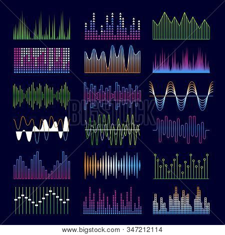 Sound Waves. Music Symbols Equalizer Shapes Signal Voicepulse Vector Templates. Sound Audio Voice, S
