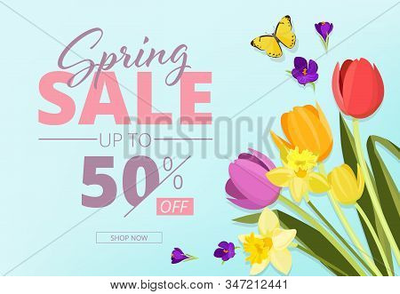 Spring Sale. Advertizing Background Banner With Abstract Geometrical Shapes And Flowers Vector Store