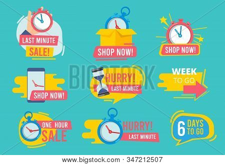 Hot Offer Badges. Countdown Promotional Deals 24 Hour Sales Vector Advertising Stamp Templates. Badg