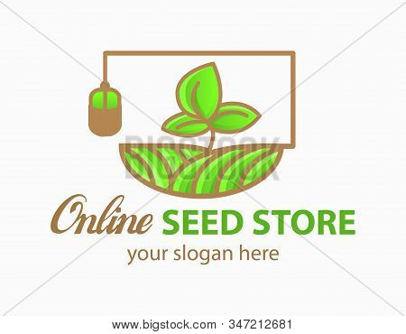 Online Seed Store Logo Vector Concept For Agriculture, Wheat Farm, Agronomy, Rural Country Farming F