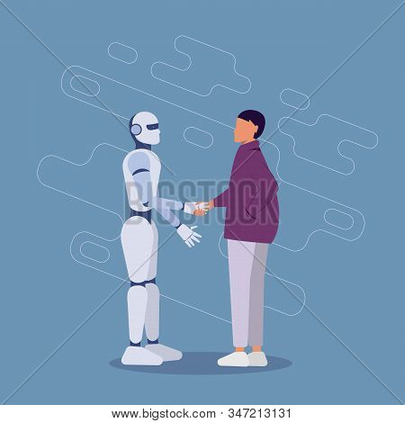 Ai. Friendship of a woman and an ai robot. Woman and artificial intelligence robot. Handshake between woman and ai robot. Vector illustration. Ai illustration, ai concept, ai vector design