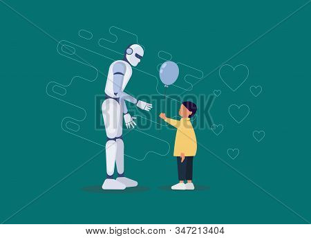 Ai. Friendship of a child and a robot. Little boy gives a balloon to a robot. Ai. Android, cyborg, ai, humanoid robot, friendship concept, flat cartoon vector illustration. Human boy and ai robot walking together as friends. Ai Vector, ai illustration, ai