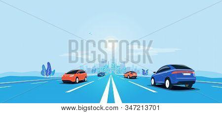 Traffic On The Highway Panoramic Perspective Horizon Vanishing Point View. Flat Vector Cartoon Style