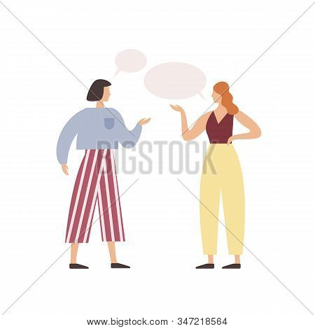 Cartoon Woman Friend Talking With Speech Bubbles Vector Flat Illustration. Two People Communication