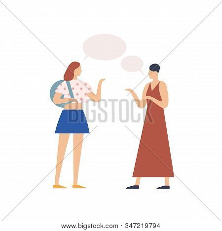 Two Young Girl Gossiping With Speech Bubble Vector Flat Illustration. People Chatting Each Other Iso