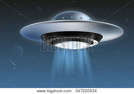 Unidentified Flying Object - Ufo - And Starry Night Sky - Vector Illustration