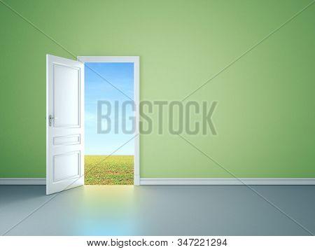 Green Room Interior With Open Door Tofield. Mock Up, 3d Rendering