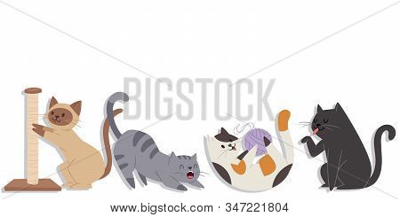 Cute Cats Of Different Breeds In Various Poses Vector Illustration. Cartoon Kitten Licking Itself ,