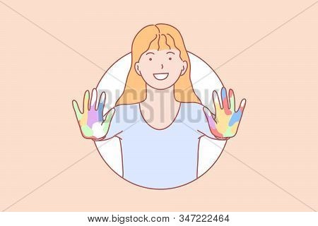 Amity, Learning, Hands, Play Concept. Smiling Young Girl With Open Colorful Hands. Happy Schoolgirl