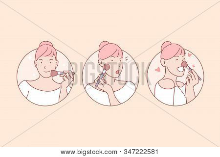 Makeup, Beauty, Training, Blog, Online, Set. Young Pretty Woman Using Face Cosmetics Happily. Online