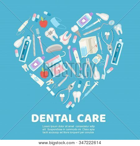Dental Care Symbols In The Shape Of Heart Vector Illustration. Dental Floss, Teeth, Mouth, Tooth Pas